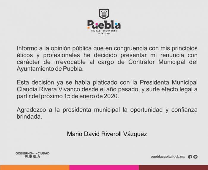 #ESTATAL ! QUE DESASTRE EN PUEBLA CAPITAL, ¡LE RENUNCIA EL CONTRALOR MUNICIPAL A LA PEOR PRESIDENTA DE LA HISTORIA DE PUEBLA!